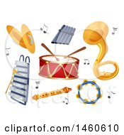 Clipart Of Cymbals Xylophone Pan Flute Drums Flute Sousaphone And Tambourine Royalty Free Vector Illustration