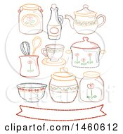 Clipart Of Embroidered Country Style Kitchen Elements With Ribbon And Various Containers Royalty Free Vector Illustration