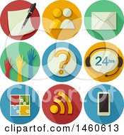 Clipart Of Feedback Icons Including Survey Interview Mail Show Of Hands Question Mark Chat Web Feed Puzzle And Mobile Royalty Free Vector Illustration