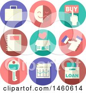 Poster, Art Print Of Real Estate Icons Like Briefcase Buy Button Emotion Notebook House Handshake Key Chart And Loan