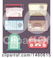 Clipart Of Vintage Radios Royalty Free Vector Illustration
