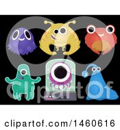 Clipart Of Group Of Cute And Weird Alien Elements Isolated Against Black Royalty Free Vector Illustration
