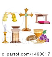 Clipart Of Different Objects Used At A Mass Ceremony Including A Chalice Cross Lectern Altar Bell Candle Holder And Kneeling Bench Royalty Free Vector Illustration
