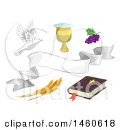 Clipart Of Different Religious Elements Including The Bible A Chalice Grapes Wheat White Dove And White Ribbon Royalty Free Vector Illustration