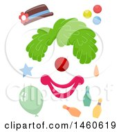 June 21st, 2017: Clipart Of Funny Face Clown Elements Consisting Of A Hat Wig Round Nose Mouth Balloon Balls Bowling Pins Royalty Free Vector Illustration by BNP Design Studio