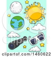 Clipart Of A Sun Moon Earth Telescope And Eclipse Glasses For Solar And Lunar Eclipse Royalty Free Vector Illustration