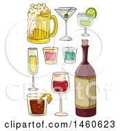 Poster, Art Print Of Sketched Alcoholic Beverages Like Red Wine Beer Cocktails Champagne And Shot Glasses