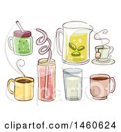 Sketched Green Smoothie Coffee Tea Lemonade Milk Juice And Hot Cocoa