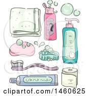 Clipart Of A Sketched Towel Shampoo Soap Tooth Brush Tooth Paste Tissue And Lotion Royalty Free Vector Illustration by BNP Design Studio