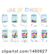 Clipart Of Jars Of Candies Activity For Teaching Counting Numbers Royalty Free Vector Illustration