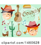 Clipart Of Cowboys And Country Music Icons Royalty Free Vector Illustration by BNP Design Studio