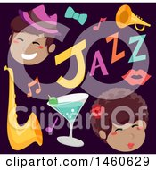 Clipart Of Singers And Jazz Music Icons Royalty Free Vector Illustration