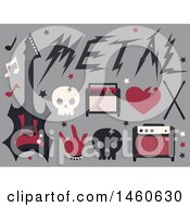 Clipart Of Skulls And Metal Music Icons Royalty Free Vector Illustration