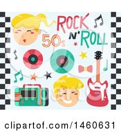 Clipart Of Singers And 50s Rock And Roll Music Icons Royalty Free Vector Illustration by BNP Design Studio