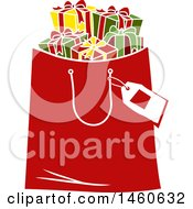 Clipart Of A Christmas Shopping Bag Full Of Gifts Royalty Free Vector Illustration