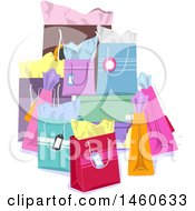 Clipart Of A Group Of Colorful Gift Bags Royalty Free Vector Illustration