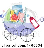 Clipart Of A Baby Stroller Full Of Baby Shower Gifts Or Shopping Bags Royalty Free Vector Illustration