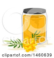 Clipart Of A Marigold Flower And Jar Of Dye Royalty Free Vector Illustration by BNP Design Studio