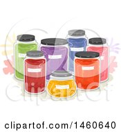 Clipart Of Natural Dyes In Jars Royalty Free Vector Illustration