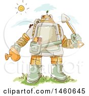 Clipart Of A Sketched Gardener Robot Royalty Free Vector Illustration