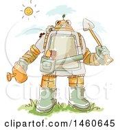 Poster, Art Print Of Sketched Gardener Robot