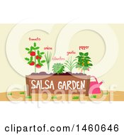 Clipart Of A Salsa Garden Bed With Text And A Watering Can Royalty Free Vector Illustration