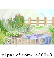 Clipart Of A Table And Chair In The Cutting Garden Full Of Flowering Shrubs And Plants Royalty Free Vector Illustration by BNP Design Studio