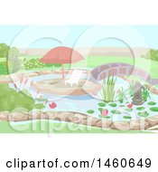 Clipart Of A Chair And An Outdoor Umbrella In The Middle Of A Water Garden Royalty Free Vector Illustration