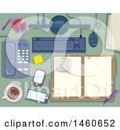 Clipart Of Notes Folder Keyboard Monitor Pens Phone Coffee And Mobile Royalty Free Vector Illustration