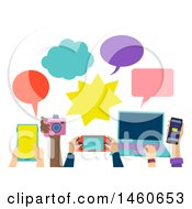 Clipart Of People Holding Different Gadgets Like Tablet Camera Console Laptop And Cellphone With Speech Bubbles Royalty Free Vector Illustration