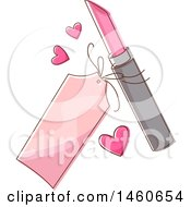 Clipart Of A Sketched Price Tag Hearts And Lipstick Royalty Free Vector Illustration by BNP Design Studio