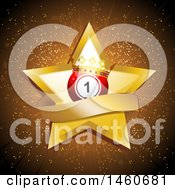 Gold Star With A Banner And Number 1 Crowned Bingo Ball Over A Burst