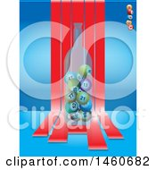 June 23rd, 2017: Clipart Of A Bottle Of Bingo Balls Over Red Striles On Blue Royalty Free Vector Illustration by elaineitalia