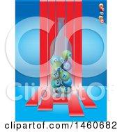 Bottle Of Bingo Balls Over Red Striles On Blue