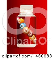 3d Pill Bottle Of Jackpot Balls On Red