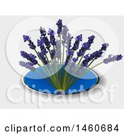 3d Blue Oval With Lavender On A Shaded Background