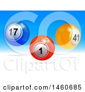 Blue And White Background With 3d Floating Numbered Balls