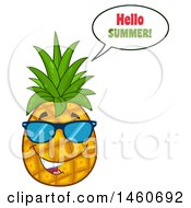 Pineapple Mascot Wearing Sunglasses And Saying Hello Summer
