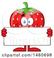 Strawberry Mascot Character Holding A Blank Sign