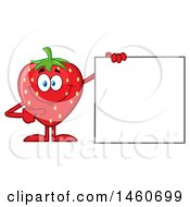 Strawberry Mascot Character Pointing To A Blank Sign
