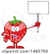 Poster, Art Print Of Strawberry Mascot Character Holding Up A Blank Sign