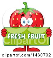 Clipart Of A Strawberry Mascot Character Holding A Fresh Fruit Sign Royalty Free Vector Illustration by Hit Toon