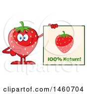 Poster, Art Print Of Strawberry Mascot Character Holding A Natural Sign