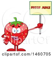 Clipart Of A Strawberry Mascot Character Holding Up A Fresh Juice Sign Royalty Free Vector Illustration by Hit Toon