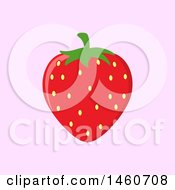 Clipart Of A Strawberry Over Pink Royalty Free Vector Illustration by Hit Toon