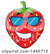 Clipart Of A Strawberry Mascot Character Grinning And Wearing Sunglasses Royalty Free Vector Illustration by Hit Toon