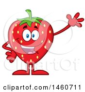 Clipart Of A Strawberry Mascot Character Waving Royalty Free Vector Illustration by Hit Toon