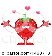 Poster, Art Print Of Strawberry Mascot Character With Hearts And Open Arms