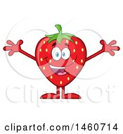 Clipart Of A Strawberry Mascot Character Cheering Or Welcoming Royalty Free Vector Illustration by Hit Toon