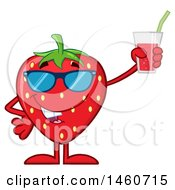 Clipart Of A Strawberry Mascot Character Wearing Sunglasses And Holding A Glass Of Juice Royalty Free Vector Illustration by Hit Toon